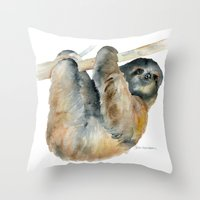 sloth Throw Pillows featuring Sloth by Susan Windsor