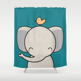 Kawaii Cute Elephant Shower Curtain