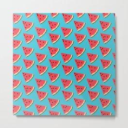 Watermelon slices on Blue, Fruit pattern Metal Print