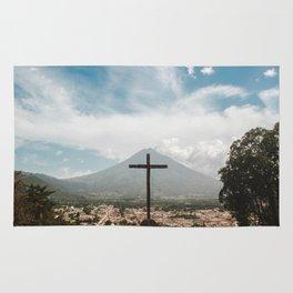 Epic view of La Cruz 'the cross' of Antigua Guatemala overlooking the city and volcano Rug