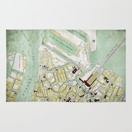 Vintage Venice historic map Italy retro travel design Rug