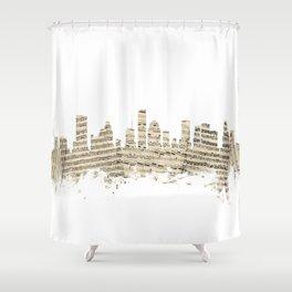 Houston Texas Skyline Sheet Music Cityscape Shower Curtain
