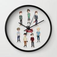 youtube Wall Clocks featuring Youtube Boys  by Natasha Ramon