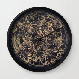 Vintage Constellations & Astrological Signs | Yellowed Ink & Cosmic Colour Wall Clock