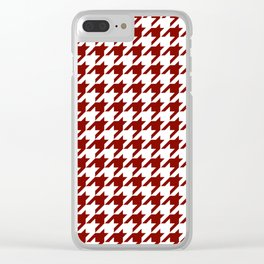 Houndstooth Checkered: Maroon (Dark Red) Clear iPhone Case