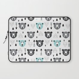 Geometric grizzly bear and arrows Laptop Sleeve