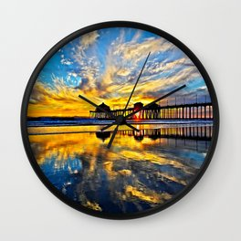 Sunset ~ Huntington Beach Pier CA  11/7/13 Wall Clock