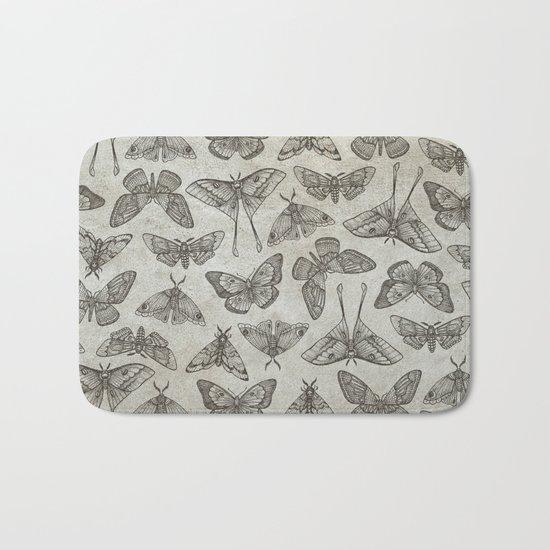 Lepidoptera Beige Bath Mat