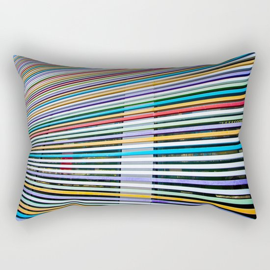 Colored Lines On The Wall Rectangular Pillow