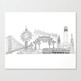 San Francisco by the Downtown Doodler Canvas Print
