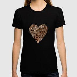 Rose Gold Foil Tree of Life Heart T-shirt