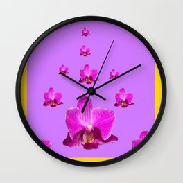 PURPLE ORCHID FLOWERS RAIN YELLOW ART Wall Clock