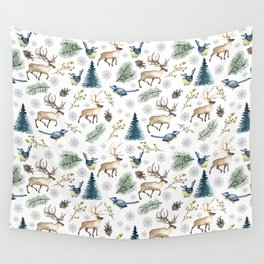 Winter forest. White pattern Wall Tapestry