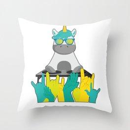 Dj unicorn party sunglasses Throw Pillow
