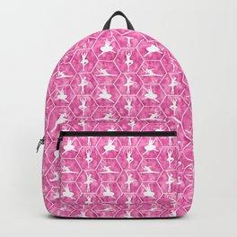 Ballet Dancer Silhouette in Hot Pink Backpack