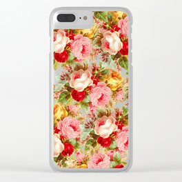 Boho chic pink yellow red roses floral vintage painting Clear iPhone Case