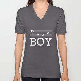 Bad boy (bass clef, dark colors) Unisex V-Neck