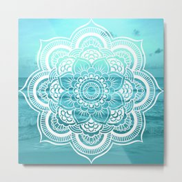 Mandala : Aqua Sunset Waters Metal Print