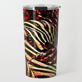 1206s-AK Abstract Striped Nude Rendered in Red Yellow and Gold Travel Mug