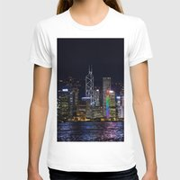 hong kong T-shirts featuring Hong Kong Night Skyline by Deborah Janke