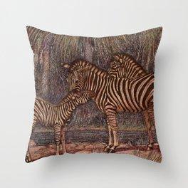 Vintage Zebra Painting (1909) Throw Pillow