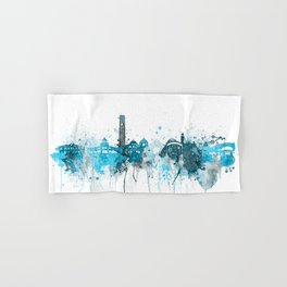 Riverside California Monochrome Blue Skyline Hand & Bath Towel