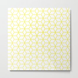 Geometric Hive Mind Pattern - Yellow #193 Metal Print