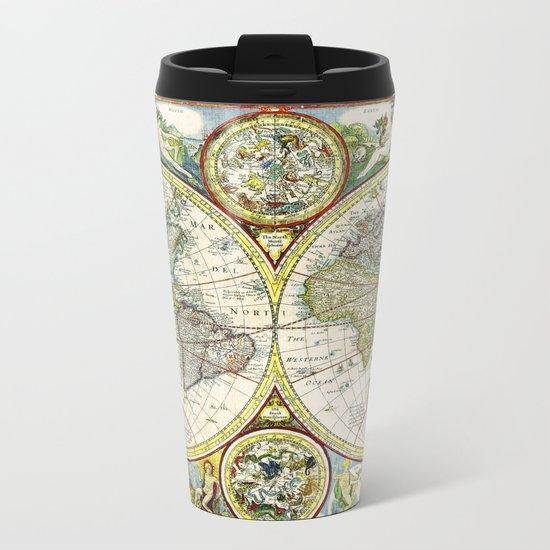 Vintage World Map Antique Metal Travel Mug