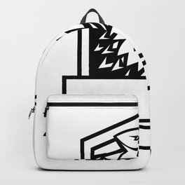 Wolf Growling Crest Retro Backpack