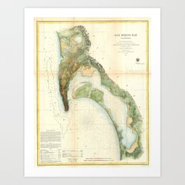 Vintage Map of The San Diego Bay (1857) Art Print