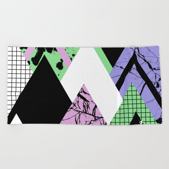 Textured Points - Marbled, pastel, black and white, paint splat textured geometric triangles Beach Towel