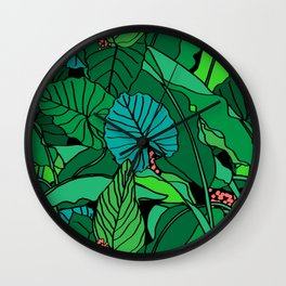 Jungle Leaves Illustrated in Black Wall Clock