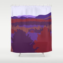 Graphic Fall Mountain Landscape with House (Blue) Shower Curtain