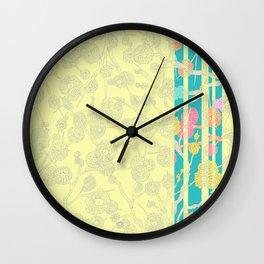 Yellow Cherry Blossom Stripe Wall Clock