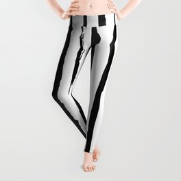 Simple Black and white stripes pattern Leggings