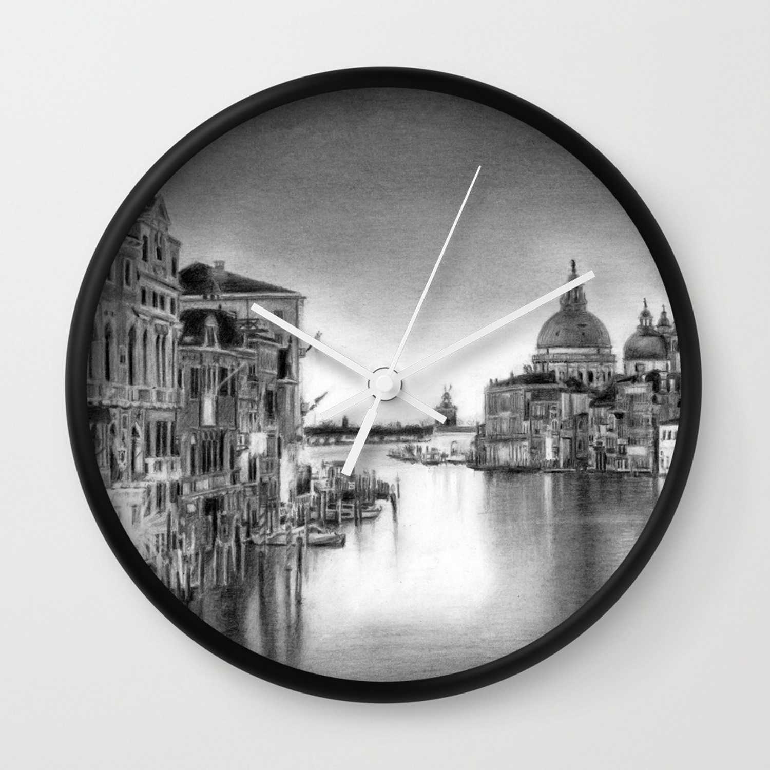 Venice pencil drawing wall clock