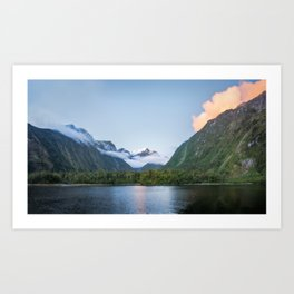 Beautiful sunset color at Harrison Cove in Milford Sound Art Print