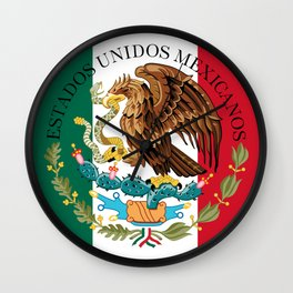 Mexican flag augmented scale with Coat of Arms Wall Clock