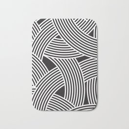 Modern Scandinavian B&W Black and White Curve Graphic Memphis Milan Inspired Bath Mat