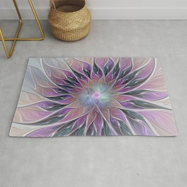 Fantasy Flower, Colorful Abstract Fractal Art Rug