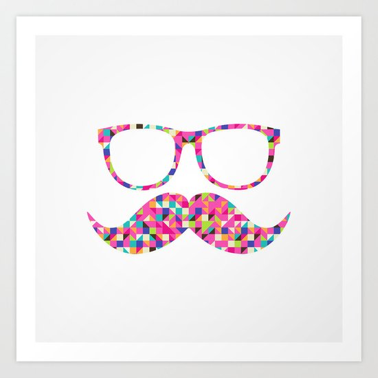 Funny Girly Pink Abstract Mustache Hipster Glasses Art Print