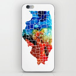 Illinois - Map Counties by Sharon Cummings iPhone Skin