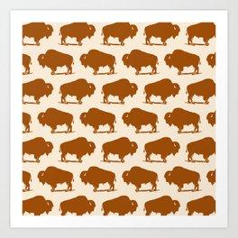 Buffalo Bison Pattern 275 Yellow Ochre Art Print
