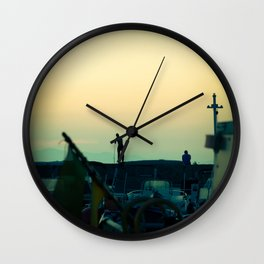Sunset in a little port in French Riviera Wall Clock