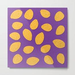 Lemon Design - Fruit, Purple and Yellow, Pattern Metal Print