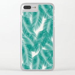 Green Tropical Palm Leaves Clear iPhone Case