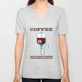 Funny Coffee Injection Nurse Medicine print Unisex V-Neck