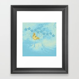 butterfly and flowers in an abstract blue grunge landscape Framed Art Print