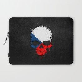 Flag of Czech Republic on a Chaotic Splatter Skull Laptop Sleeve