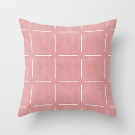 Block Print Simple Squares in Coral Throw Pillow
